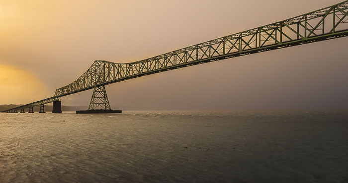 My favorite bridge on a foggy morning.  Astoria Megler Bridge.