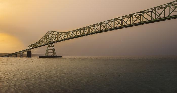 My favorite bridge on a foggy morning.  Astoria Megler Bridge.