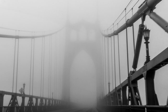 This photo was taken as we drove over the bridge.  The fog was real dense up that high.