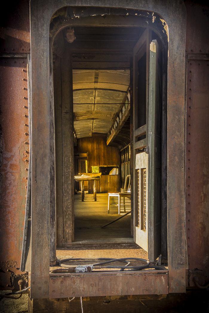 Vintage train doorway.