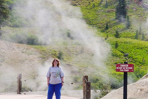 Chris took this photo of me many years ago at Lassen Volcano. We were near sulfur pots.