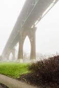 St John's Bridge on a foggy day.