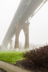 St John's Bridge on a foggy day.