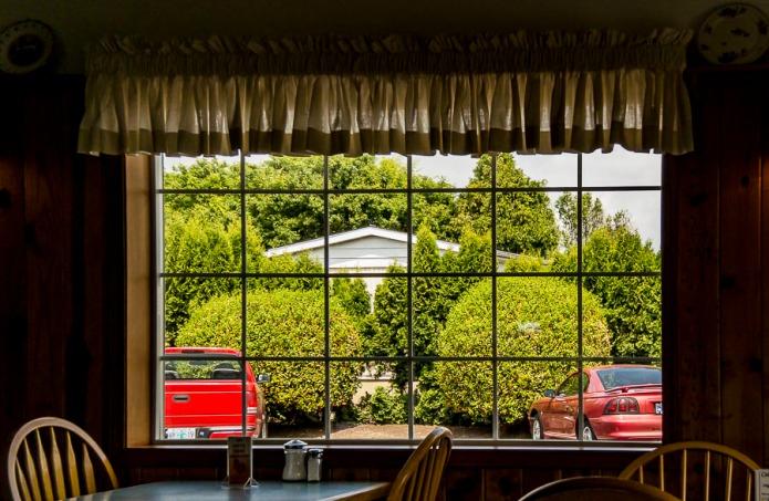 Restaurant window.
