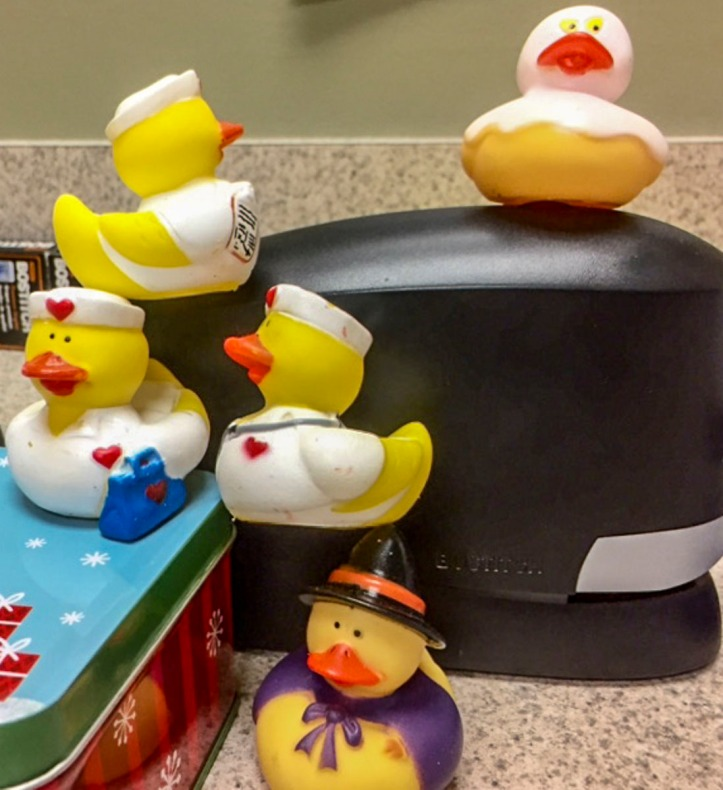 I gave everyone at work nurse ducks last year for Christmas so I had fun with them and then I have my Halloween ducks.