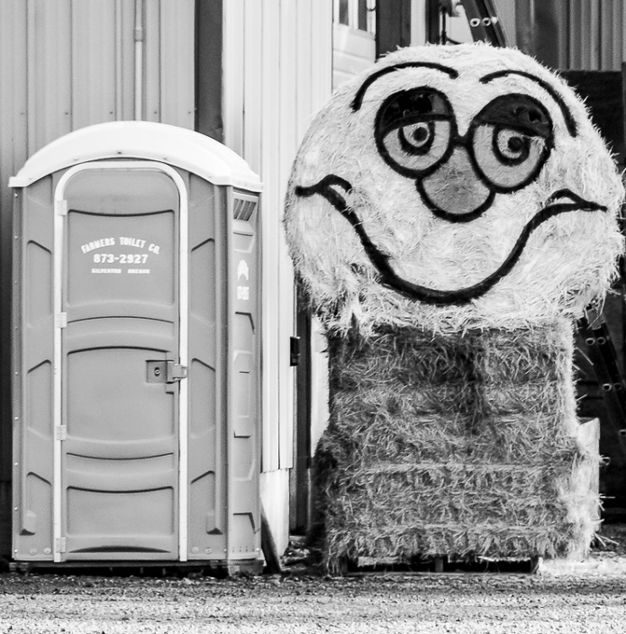 And outhouse and smile face haystack.