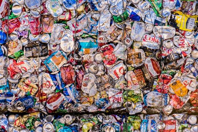 Abstract of crushed Aluminun cans.