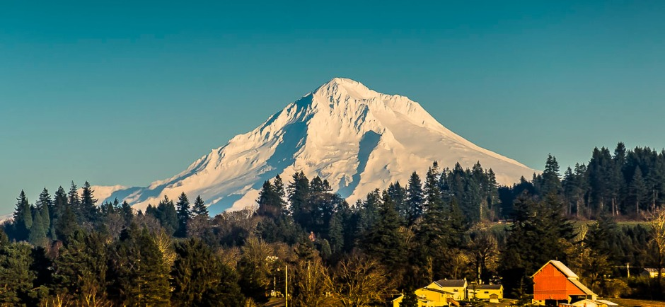 View of Mt Hood from Canby, Oregon.