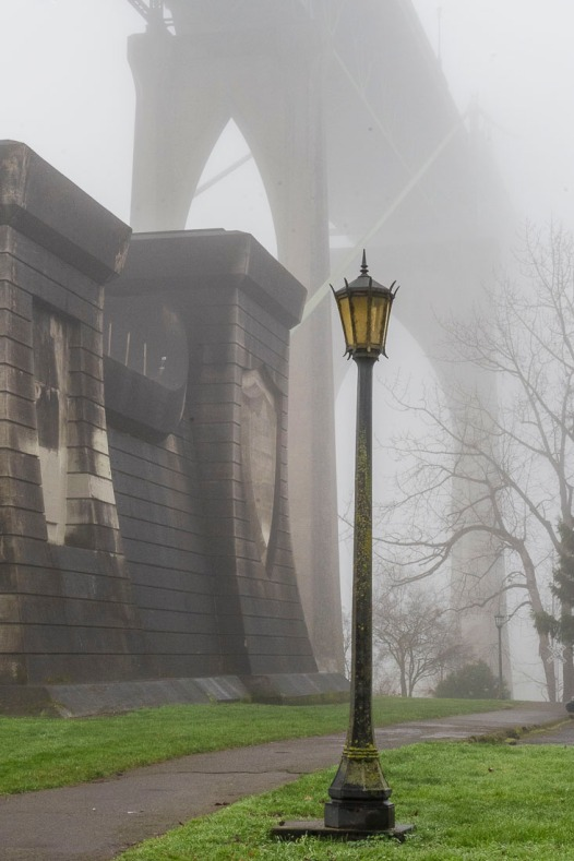 Cathedral on a foggy winter's morning, Portland, Oregon.