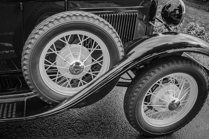 Vintage car wheels.