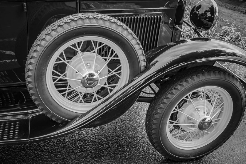 Vintage car wheels.