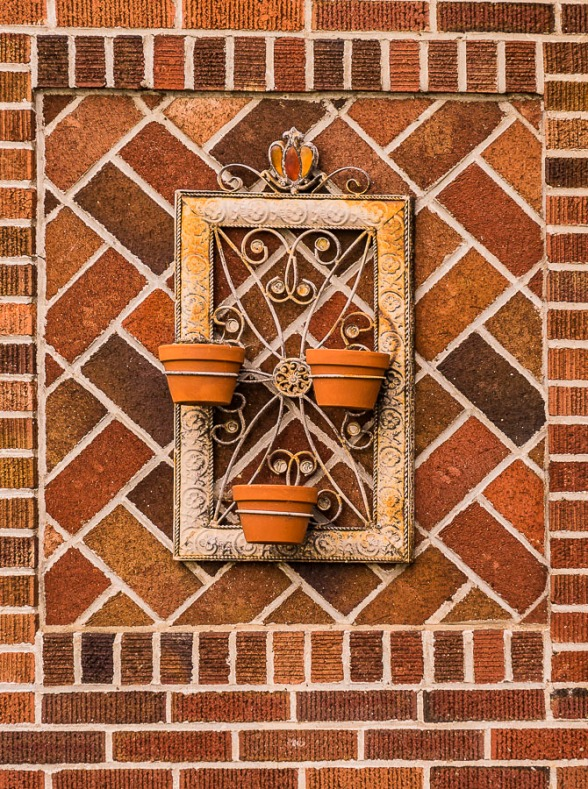Brick placed in several different patterns created this textural design.