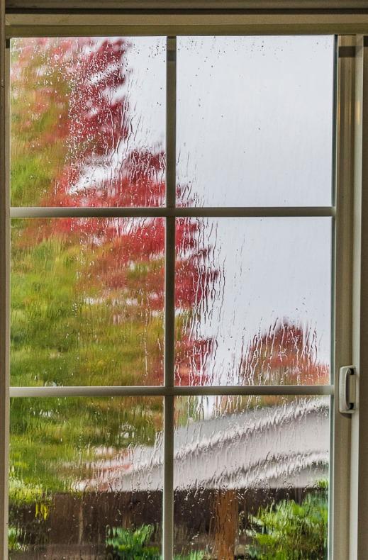Rain on my office window (photo taken a few minutes ago, Oct 7, 2016).