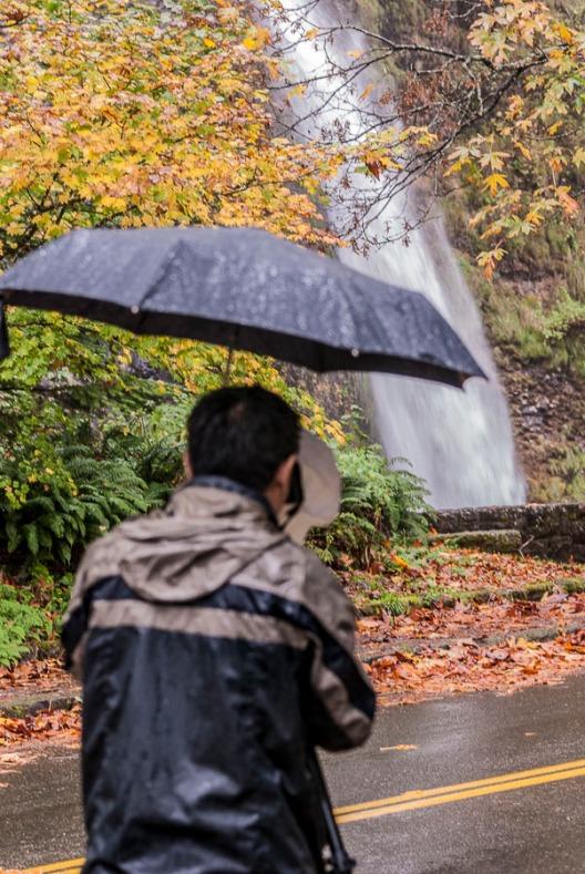 Rain along the Columbia Gorge looking at Horsetail Falls.