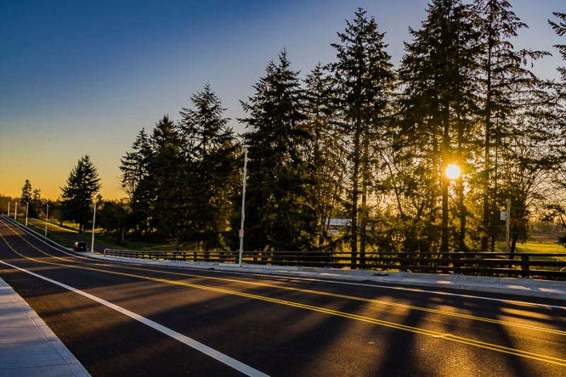 Road in Canby at sunset.