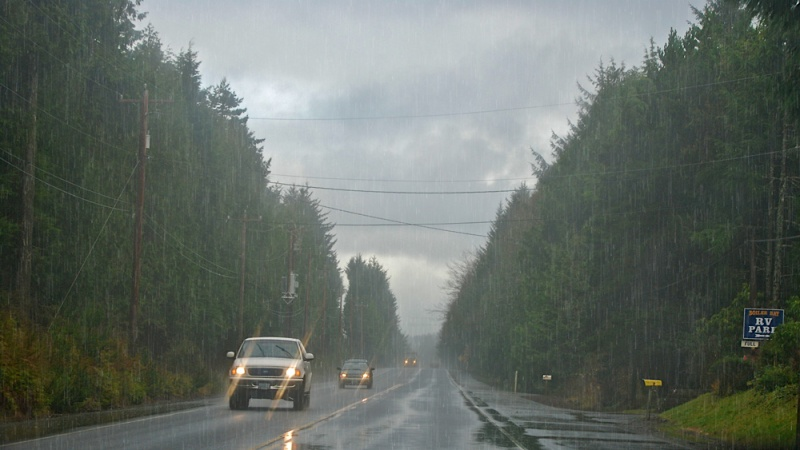 Rain along Highway 101 in January.