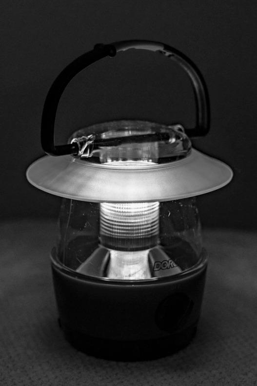 A small plastic lantern.
