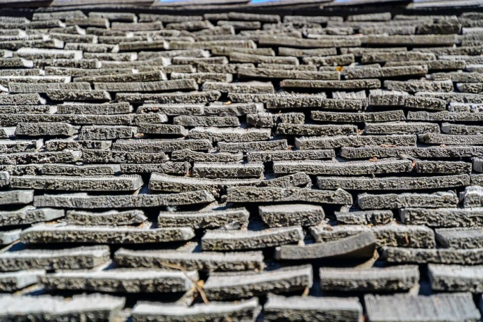 An old shingled roof.