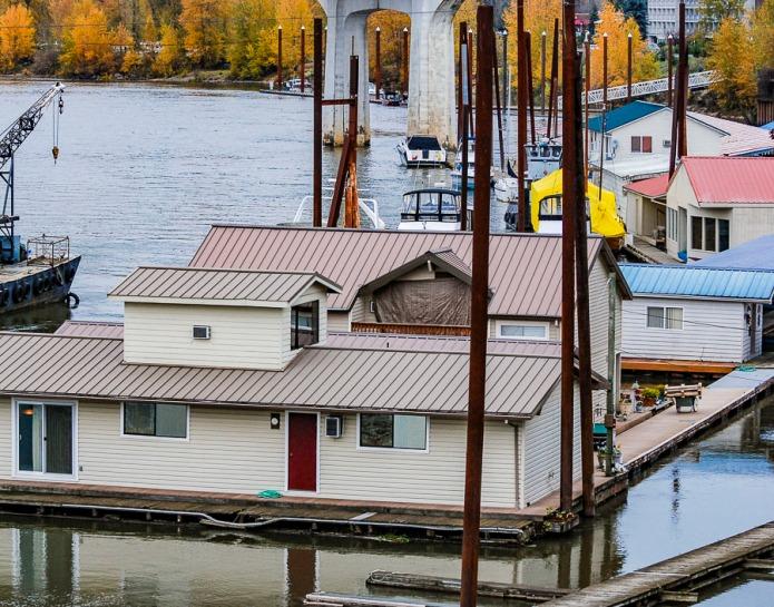 Roofs of houseboats at the Oregon City Marina, Oregon.