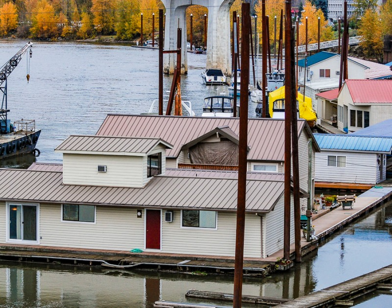 Roofs of houseboats at the Oregon City Marina, Oregon.