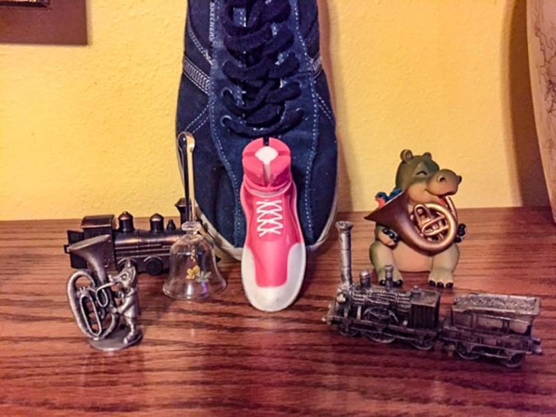 Tiny shoe and trains.