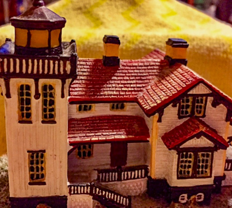 Tiny Christmas lighthouse.