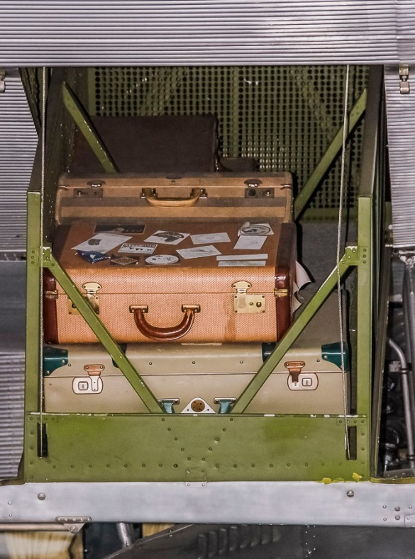 Suit cases in vintage passenger plane. Photo taken at Evergreen Air Museum, McMinnville, Oregon.