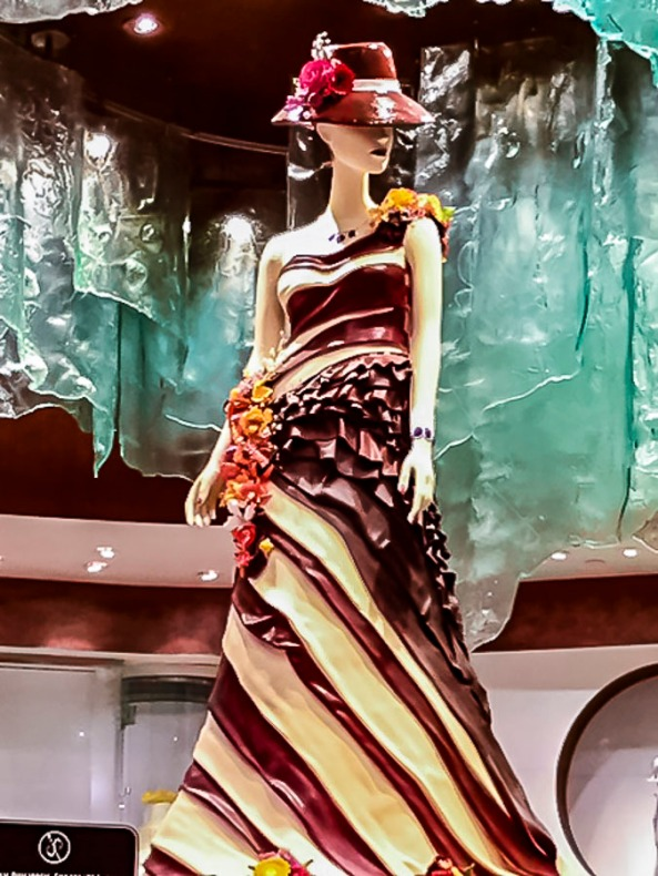 Dress made out of chocolate.