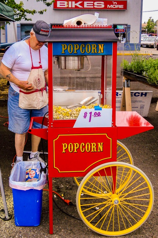 Popcorn cart windows.