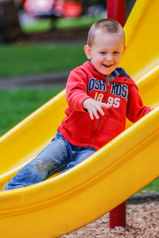 Child on a slide.