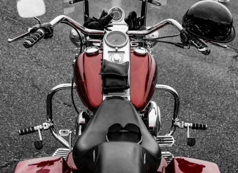 Shiny chrome and dark colored motorcycle.