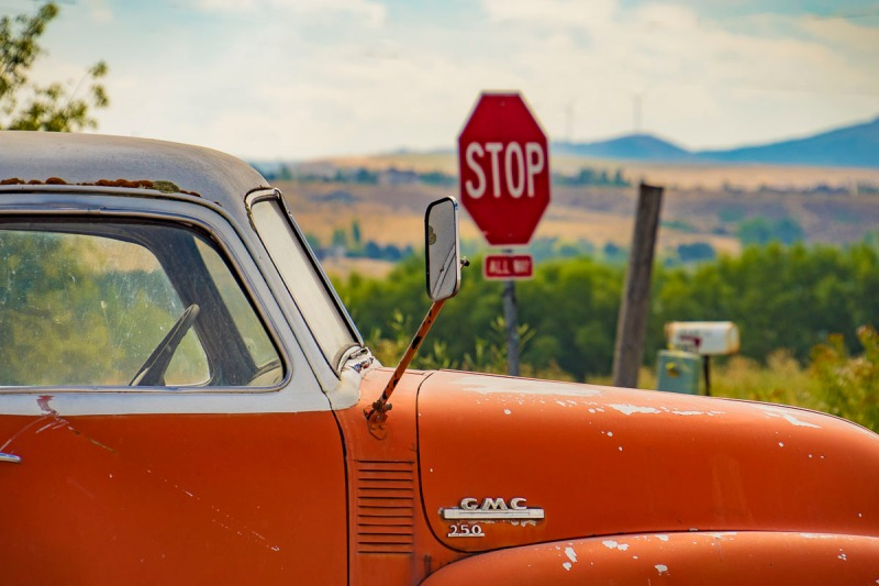 Vintage vehicle in Idaho Falls, Idaho.