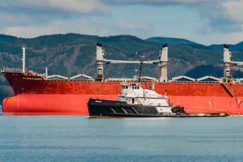 Tug boat, some sort of ocean cargo ship. Photo taken on the Columbia River, Fort Stevens, Oregon.