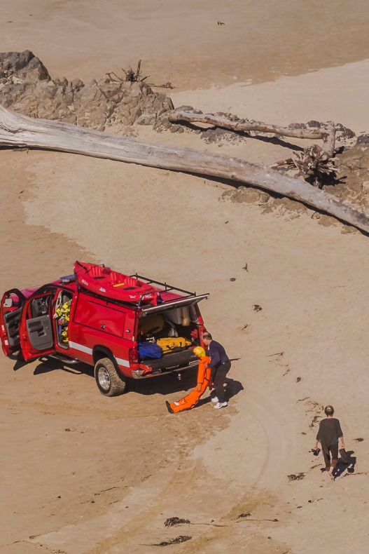 Paramedics having a drill for ocean rescue on Lincoln City, Oregon beaches.