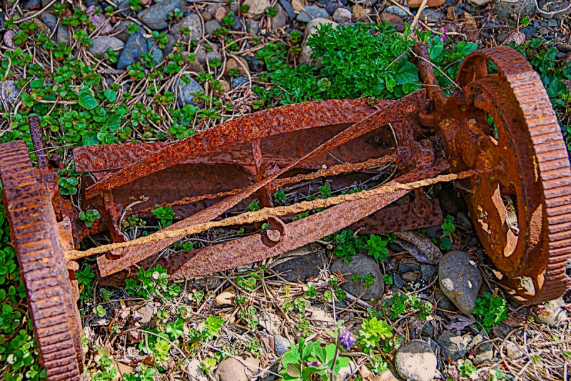 Rusty and crust lawn mower.