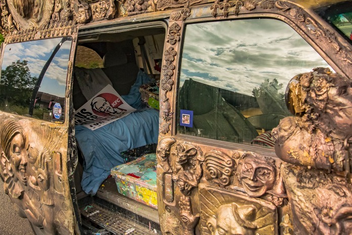 Inside an window painter's van.