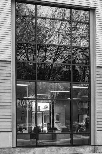 Huge window in an office building in Canby, Oregon.