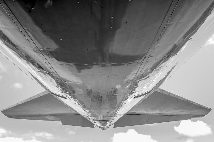 Underbelly of a 747.