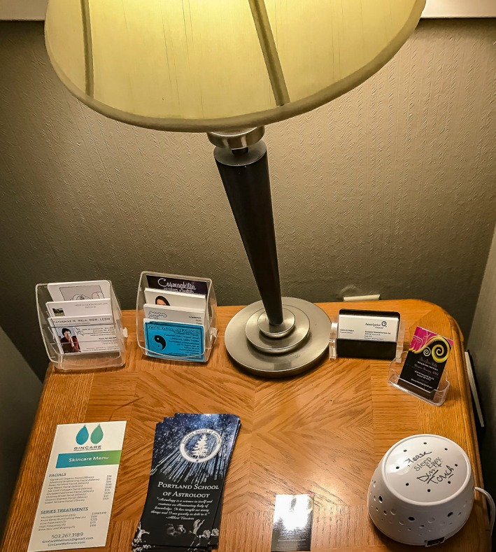 A display table in a business building.