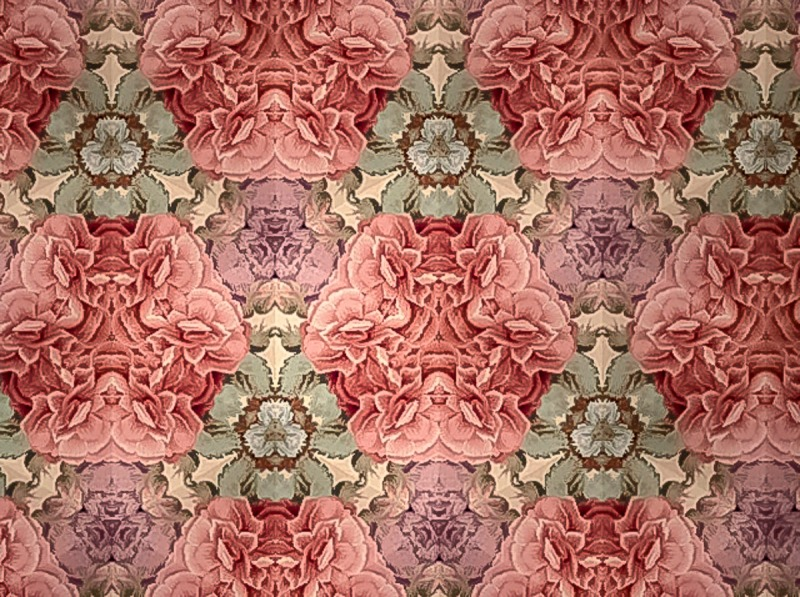 Looking down on a foot stool using the kaleidoscopic filter in photo both of my IPad.