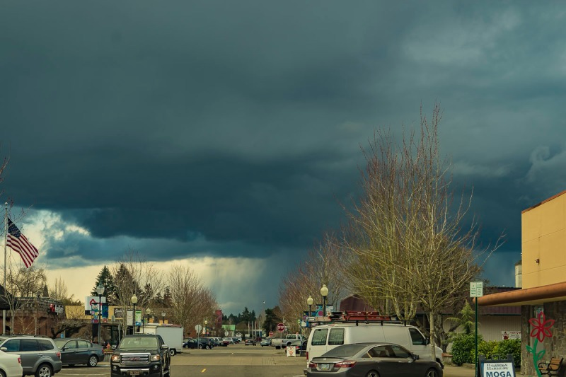 A rainstorm approaching.  Photo taken in downtown Canby, Oregon.