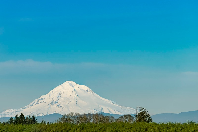Mt Hood view from Woodburn, Oregon.