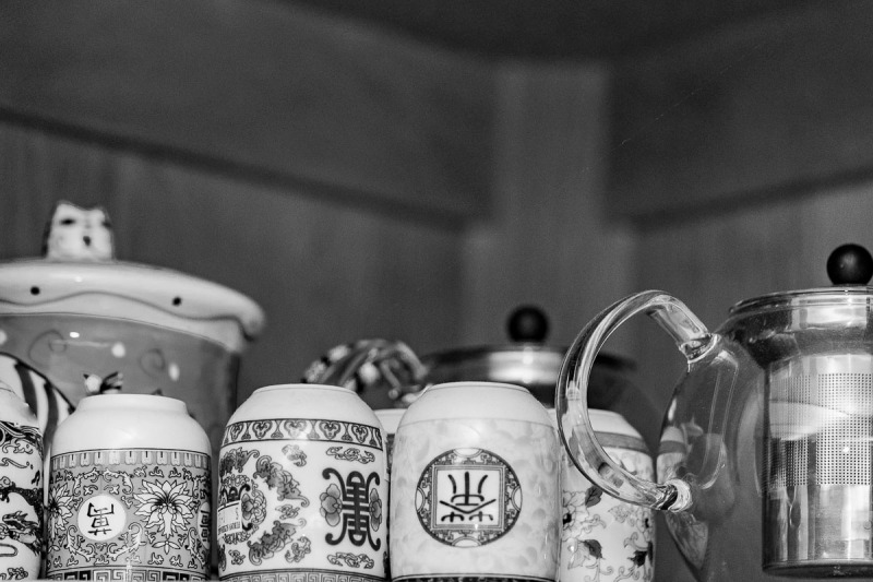 Teapots and cups in my cupboard