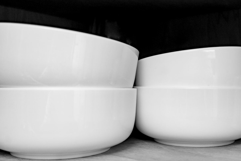56930bfe506223 November. I took this photo for one of my black and white challenges. I  really liked it. 4 salad bowls in my cupboard.