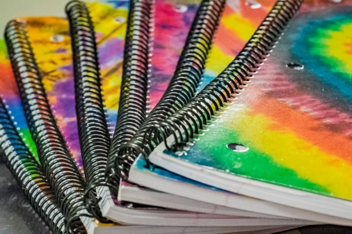 My rainbow colored notebooks,