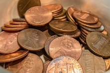 Pennies in a small bowl.