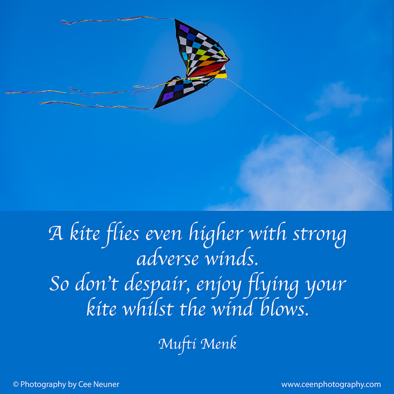 A kite flies even higher with strong  adverse winds.   So don't despair, enjoy flying your kite whilst the wind blows, Mufti Menk, ceenphotography.com, pick me up, inspire, uplift, motivate, photography, Cee Neuner, blue, kite