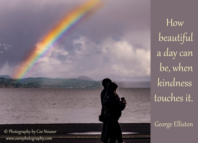 How beautiful a day can be, when kindness touches it, George Elliston, ceenphotography.com, pick me up, inspire, uplift, motivate, photography, Cee Neuner, clouds, silhouette, water, couple, rainbow