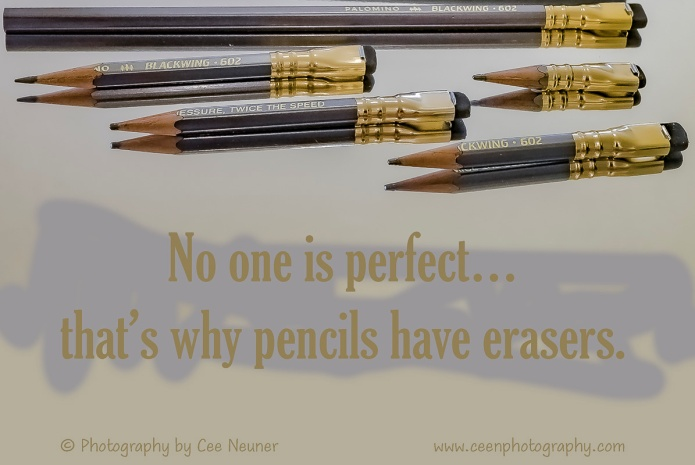 No one is perfect…that's why pencils have erasers, inspire, uplift, motivate, photography, Cee Neuner, ceenphotography.com, pencil, eraser, gold, gray