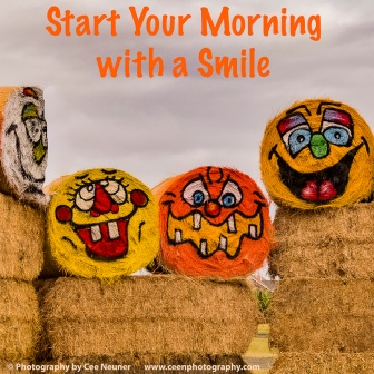 start your morning with a smile., uplift, motivate, photography, Cee Neuner, ceenphotography.com, haystack, smile, happy faces, painting,